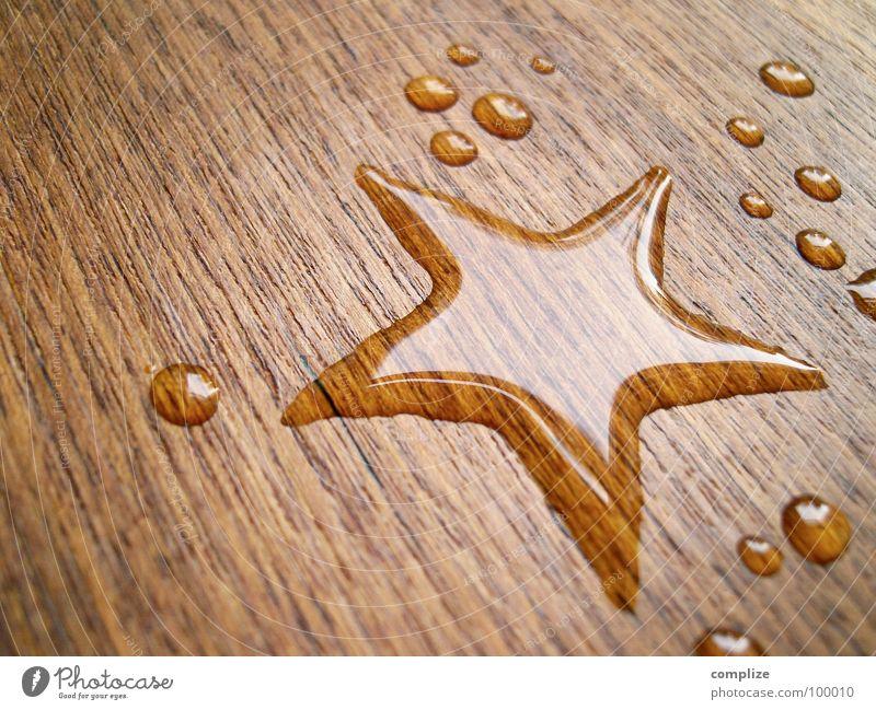 estrela* Weihnachten & Advent schön Wasser Holz Glück Design Kreativität Tisch Wassertropfen nass Stern (Symbol) Zeichen Weltall Glaube Fleck heilig