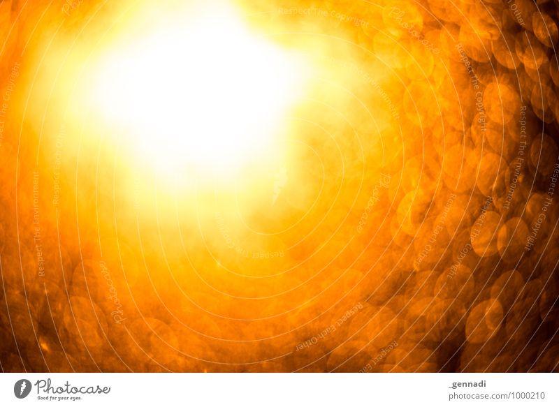 Tunnel ins Licht Lichtschein leuchten Lichterscheinung Lichtgeschwindigkeit Unschärfe Hintergrundbild Beleuchtung kreisen Orange Wärme Heiligenschein Farbfoto