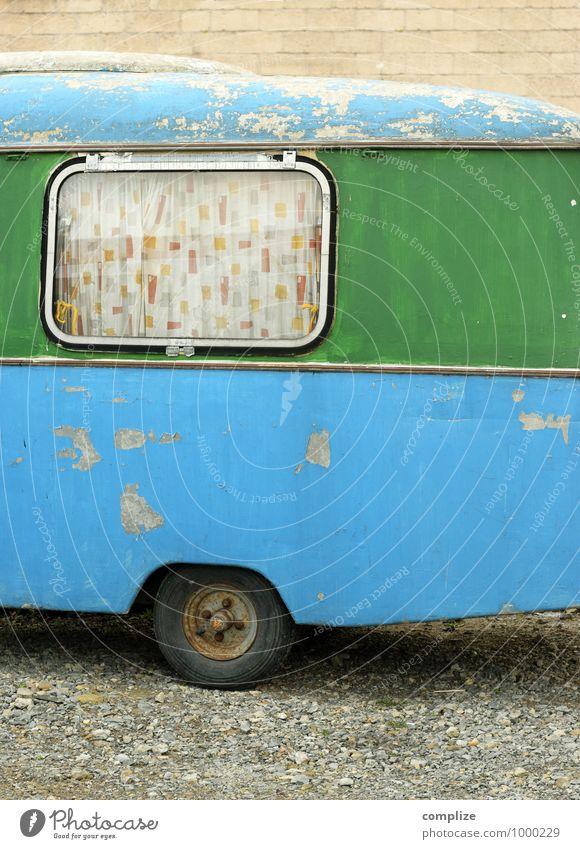 Wohnwagen Erholung ruhig Ferien & Urlaub & Reisen Tourismus Ausflug Ferne Freiheit Camping Sommer Sommerurlaub schaukeln Häusliches Leben blau grün Romantik