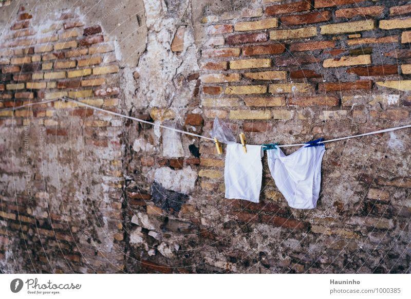 frische Wäsche Ferien & Urlaub & Reisen Städtereise Sommerurlaub Backsteinwand Sizilien Italien Dorf Altstadt Mauer Wand Fassade Bekleidung Unterwäsche