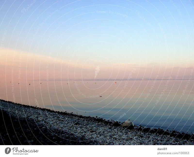 Winter-Abend-Stimmung Wasser Himmel Winter kalt Herbst See Stimmung Küste Abenddämmerung Bodensee