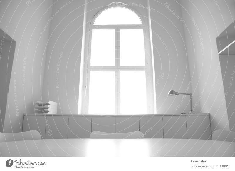 white office #8 weiß Tisch Sitzung Lampe Sauberkeit Fenster Licht Arbeit & Erwerbstätigkeit weich Büro kalt Metall Stahl Stil Design ästhetisch Reinigen