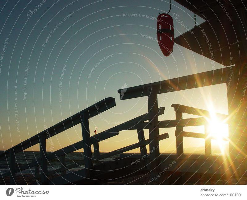 Baywatch zum Gähnen Rettungsschwimmer Strand Sonnenstrahlen Sonnenuntergang Malibu Los Angeles Dienstleistungsgewerbe Club Venice Himmel Strandposten