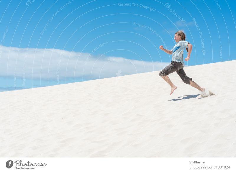 294 [superschnell] Kind Ferien & Urlaub & Reisen Jugendliche Sommer Landschaft Freude Junger Mann Strand Leben Bewegung Freiheit Linie Sand springen