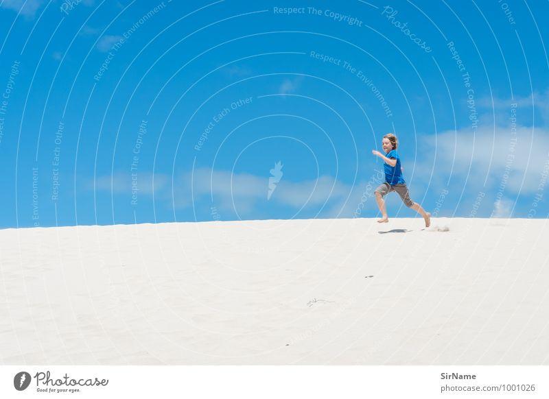 364 Himmel Kind Sommer Sonne Freude Strand Ferne Wärme Leben Bewegung Junge Freiheit Sand springen Kindheit frei