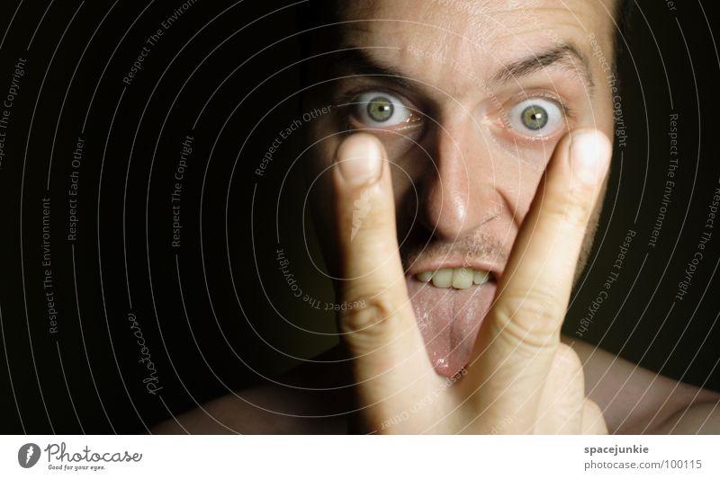 Lick it up Mann Hand Freude Gesicht Auge lustig Finger verrückt skurril böse Freak Zunge lutschen
