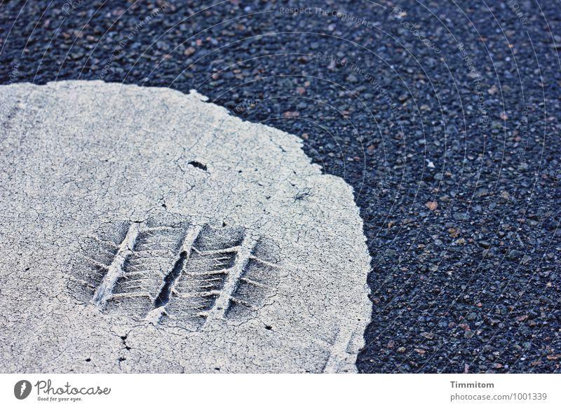 Spurensicherung. Farbe weiß Straße grau Linie Schilder & Markierungen ästhetisch einfach Neugier Reifenspuren