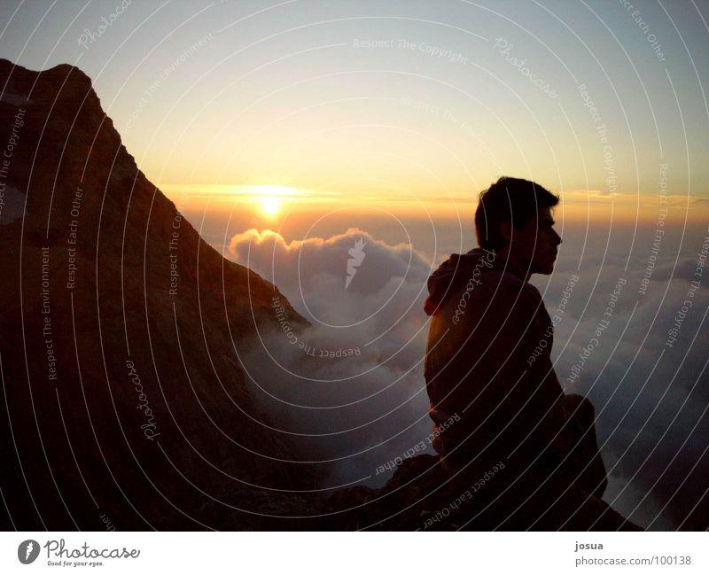 Bergsehnsucht2 Sonnenuntergang Romantik Wolken Nebel Berge u. Gebirge Mensch Schatten
