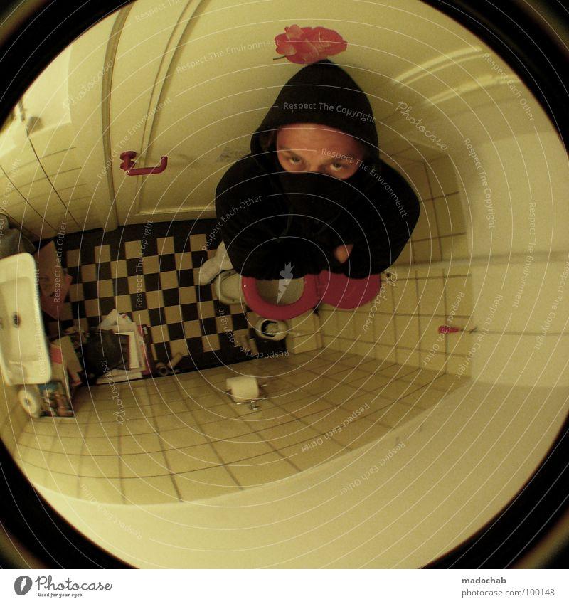 BESETZT Mensch Mann Gesicht schwarz Auge dunkel Raum Angst klein gefährlich Bad bedrohlich Maske Toilette Fliesen u. Kacheln eng