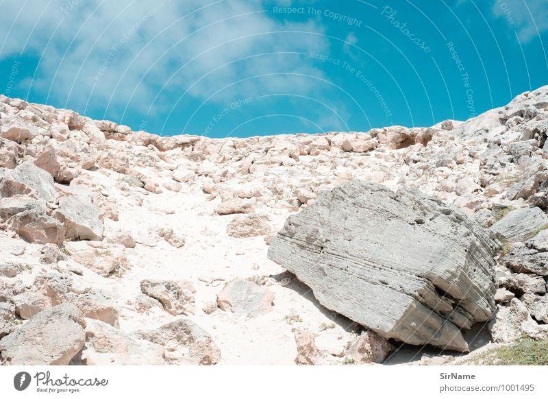 303 [steiniger aufstieg] Ferien & Urlaub & Reisen Ausflug Abenteuer Expedition Sommer Berge u. Gebirge wandern Natur Landschaft Sand Himmel Wolken Sonnenlicht