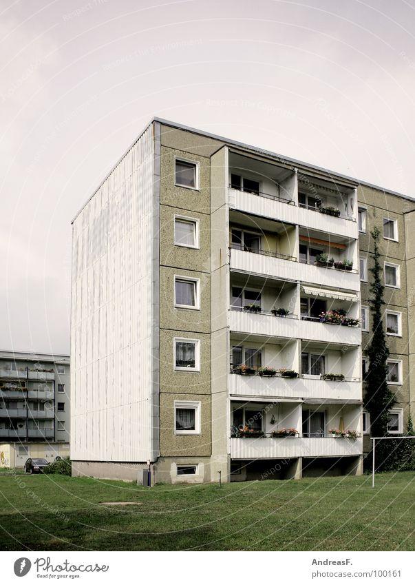 Wohnen im Grünen Haus Wiese Fenster grau Arme Wohnung Armut trist Rasen Häusliches Leben Balkon DDR Miete Osten sozial Block