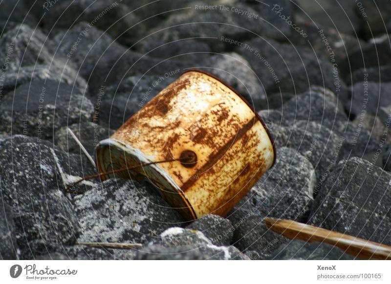 Anti-Rostschutz Müll Eimer Holz Umwelt Rostschutzfarbe Vergänglichkeit Nordsee Stein
