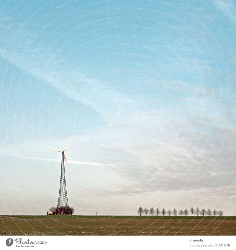Wind Energiewirtschaft Erneuerbare Energie Windkraftanlage Landschaft Luft Himmel Klima Baum Feld Freiheit Umwelt Umweltschutz Ferne Farbfoto Außenaufnahme