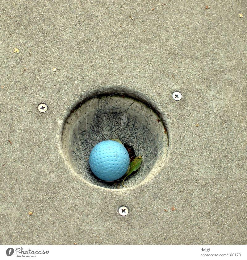 eingelocht... blau Sommer Freude Spielen grau Freizeit & Hobby Erfolg rund Ball schreiben Punkt Golf Loch Sportveranstaltung Schraube