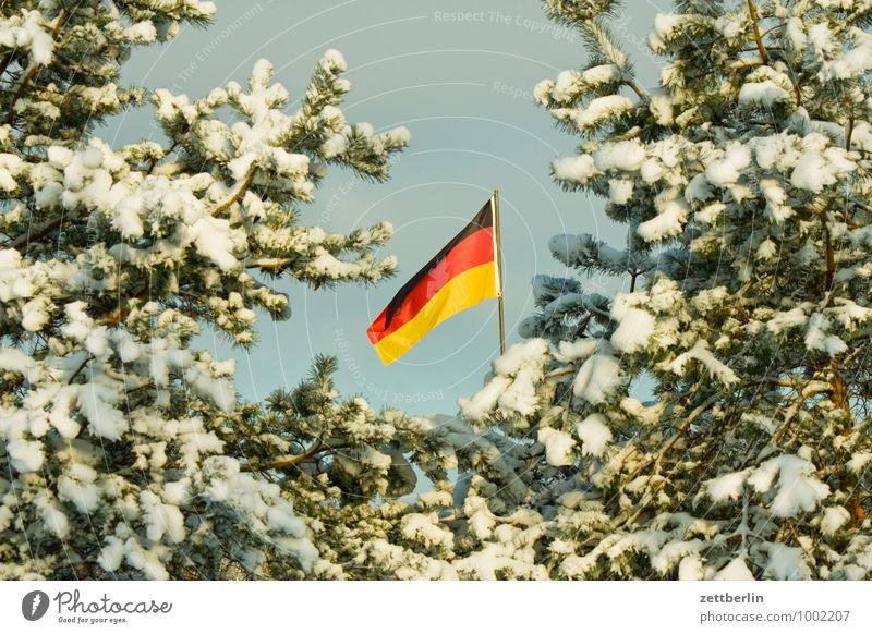 Winter Dezember Stimmung Weihnachtsmarkt Tanne Weihnachtsbaum Fichte Schnee Neuschnee Fahne Nationalitäten u. Ethnien Deutschland Patriotismus Lokalpatriotismus