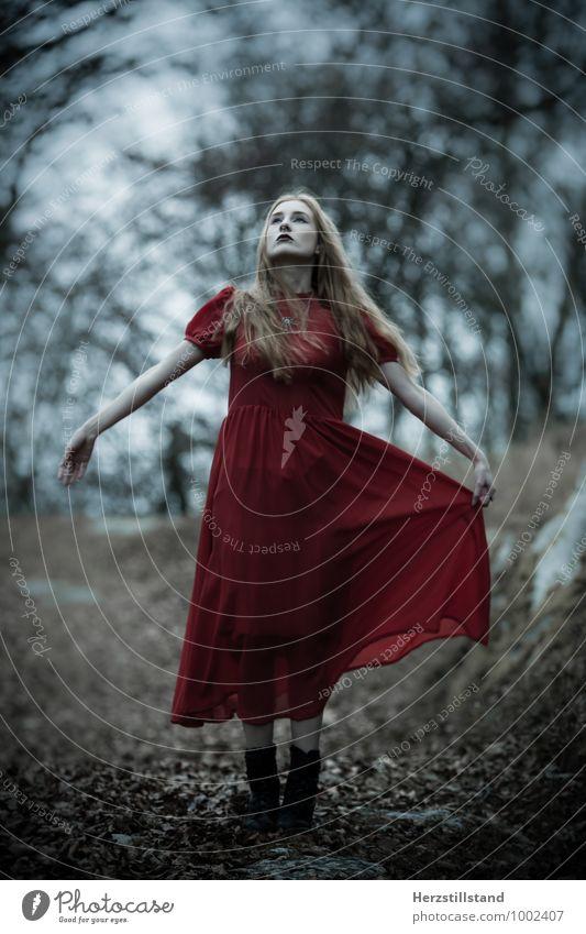 red dress Mensch Jugendliche Junge Frau rot 18-30 Jahre Erwachsene Gefühle feminin Kraft Bekleidung einzigartig geheimnisvoll Kleid Mut Inspiration Märchen