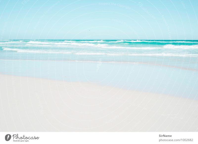 302 [idylle] Schwimmen & Baden Ferien & Urlaub & Reisen Tourismus Ferne Freiheit Sommerurlaub Strand Meer Wellen Landschaft Sand Wasser Wolkenloser Himmel