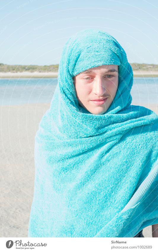 292 [schutztuch] Mensch Kind Ferien & Urlaub & Reisen Jugendliche Sommer Meer Junger Mann Strand Gesicht Wärme Leben Glück Schwimmen & Baden hell Stimmung