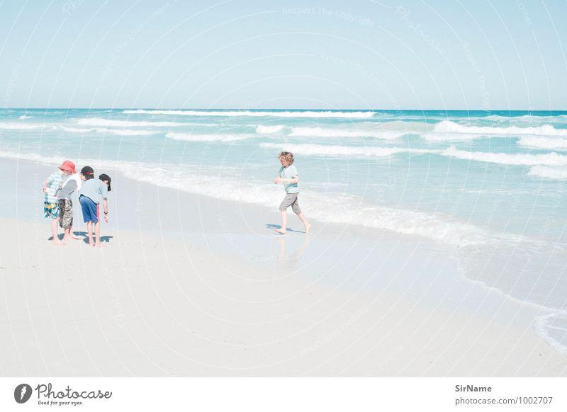 311 Kinderspiel Ferien & Urlaub & Reisen Ausflug Abenteuer Ferne Freiheit Sommer Sommerurlaub Sonne Strand Meer Wellen Junge Geschwister