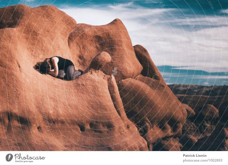 Emotional Landscape Mensch Frau Himmel Natur Ferien & Urlaub & Reisen Jugendliche Junge Frau Erholung Landschaft ruhig Ferne 18-30 Jahre Erwachsene Umwelt Leben feminin