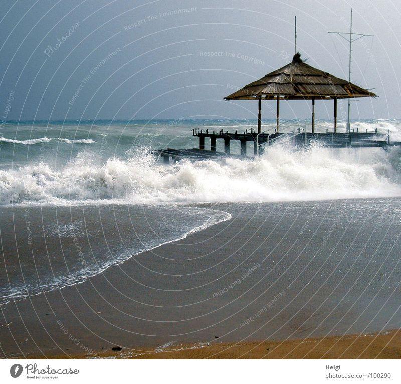 rauhe See... Himmel blau Wasser weiß Meer Sommer Strand Sand Küste braun Wellen Wind laufen nass hoch