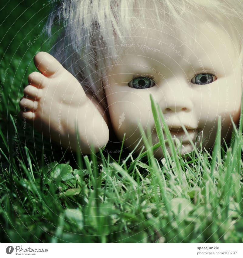 In the grass blau Auge Gras Haare & Frisuren Fuß Angst blond süß bedrohlich liegen Spielzeug gruselig Wildtier niedlich Puppe skurril