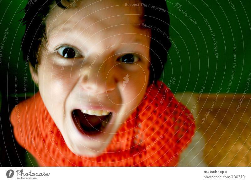 charmantes kleines Wesen Kind grün schön schwarz Gesicht Auge Haare & Frisuren hell braun orange Raum offen Angst Wildtier Mund Nase