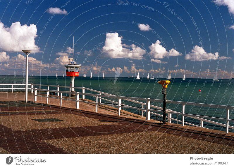 Travemünde Wasser Meer Sommer Strand Ferien & Urlaub & Reisen See Wellen Küste Ausflug Freizeit & Hobby Ostsee Geländer Fernglas Teleskop Wachturm
