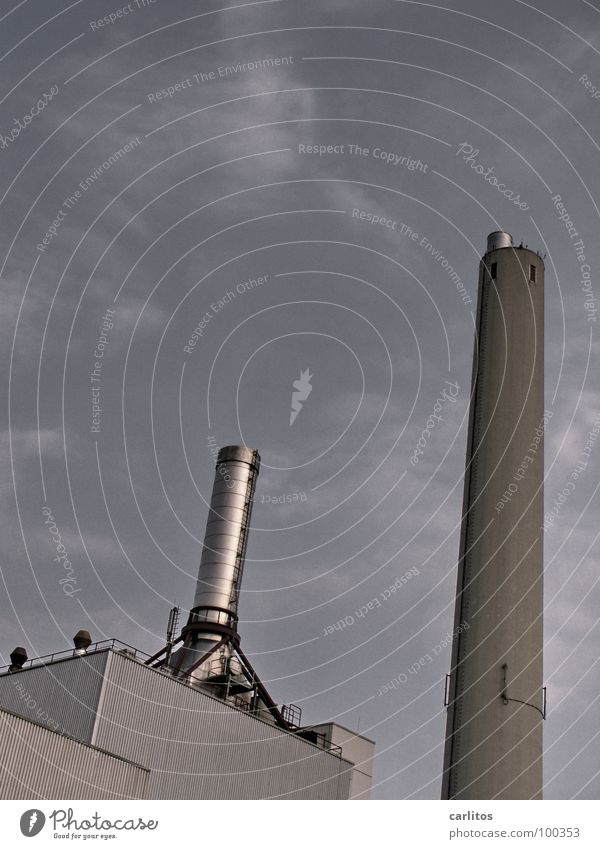 Dick und Doof Beton Industrie Klima Abgas Lagerhalle Schornstein Staub Umweltverschmutzung Wasserdampf Klimawandel Kohlendioxid Heizkraftwerk Smog Gas Edelstahl
