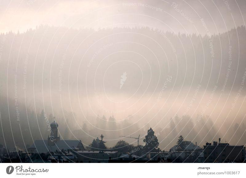 Neujahrsmorgen Umwelt Natur Landschaft Himmel Horizont Winter Klima Nebel Eis Frost Wald Hügel Freiburg im Breisgau Skyline Haus kalt Stimmung Farbfoto