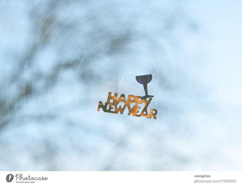 Happy New Year! Glas Sektglas Innenarchitektur Raum Nachtleben Party Feste & Feiern Silvester u. Neujahr Kitsch Krimskrams frieren Glück Häusliches Leben