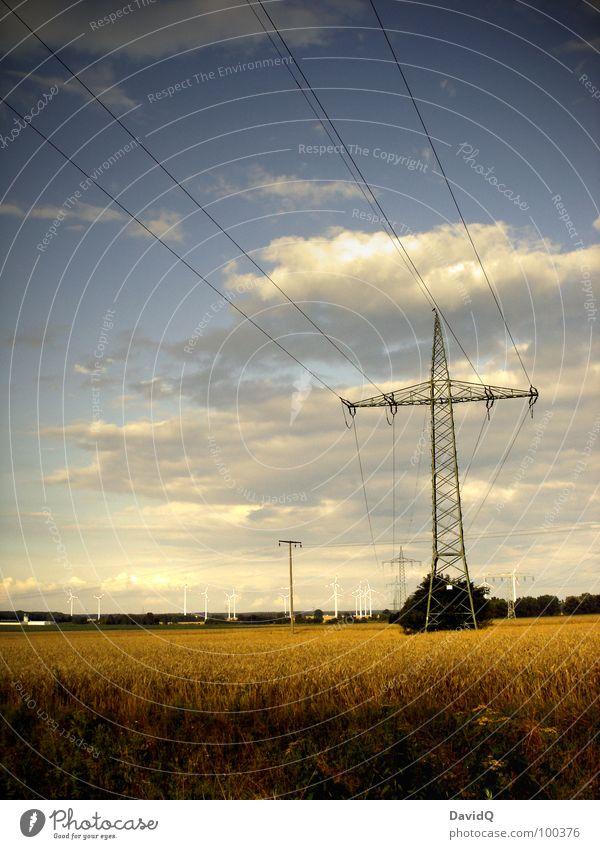 Heimat Himmel blau Sommer Wolken Ferne Feld Energiewirtschaft Elektrizität Kabel Niveau Getreide Windkraftanlage Landwirtschaft Amerika Ernte Strommast
