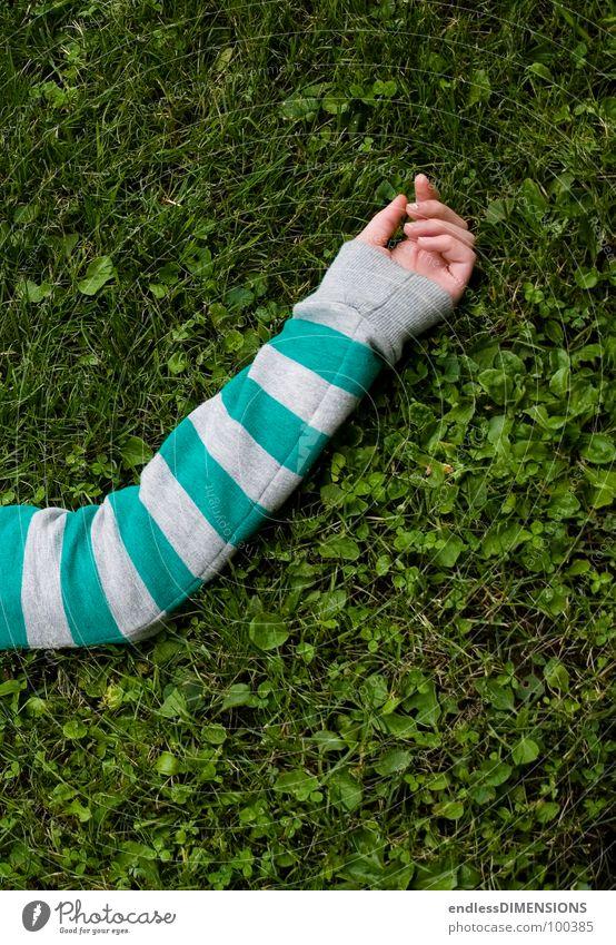 Der Arm Hand Wiese Gras Pullover Erholung grün türkis grau Bekleidung Sommer Arme liegen Gliedmaßen Körperteile Streifenpullover gestreift Pause