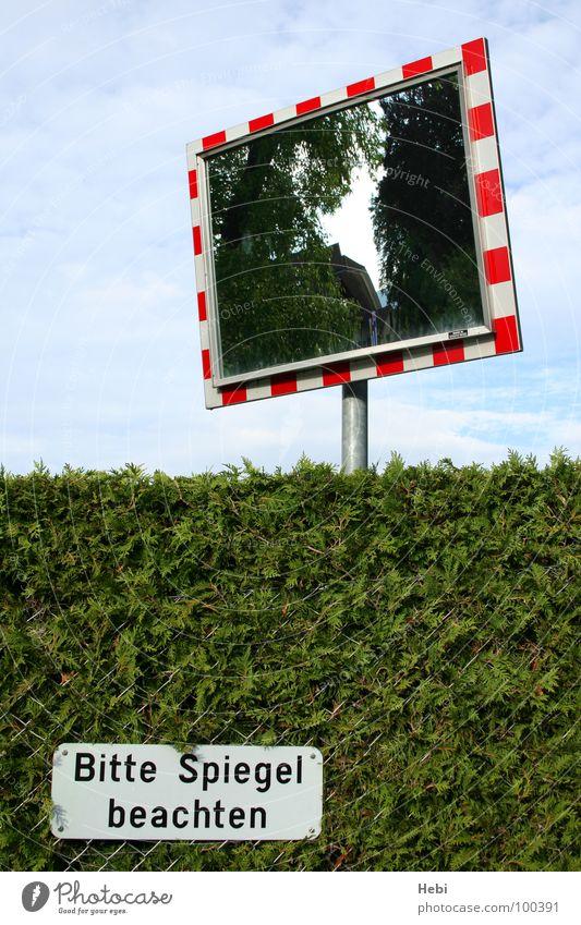 Bitte Spiegel beachten Himmel weiß grün blau rot Schilder & Markierungen Verkehr gefährlich Zaun Barriere Respekt Warnhinweis Hecke Vorsicht