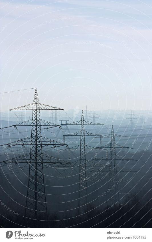 Stromlinien blau Ferne Energiewirtschaft Elektrizität Strommast Ruhrgebiet