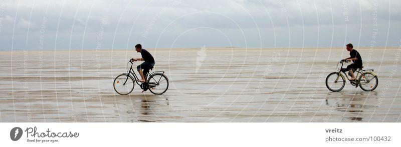 Fahrradrennen im Wattenmeer Dänemarks Meer Strand Küste Skandinavien Rømø