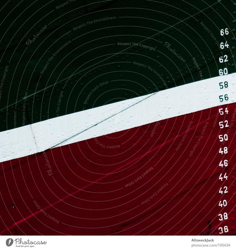 Foto mit Tiefgang 2 Wasser weiß grün rot Farbe Wasserfahrzeug Metall Ziffern & Zahlen Hafen Meter Niete Tiefgang genietet Schiffsrumpf