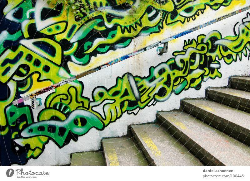treppenmalerei Muster abstrakt Hintergrundbild mehrfarbig grün zyan gelb Gemälde sprühen Ornament Kunst grau Straßenkunst Detailaufnahme Graffiti Wandmalereien