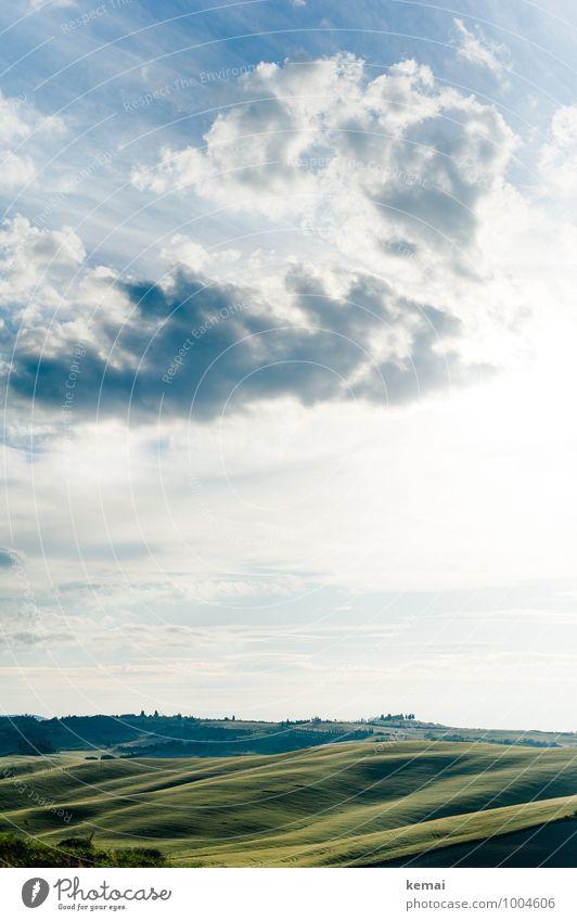 Grüner Teppich Himmel Natur Ferien & Urlaub & Reisen blau schön grün Sommer Landschaft ruhig Wolken Ferne Umwelt Wärme Wiese Freiheit Feld