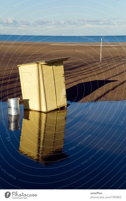 überschwemmung Himmel blau Wasser Ferien & Urlaub & Reisen Meer Strand Wolken Haus gelb Holz Sand Metall braun Horizont Klima Vergänglichkeit