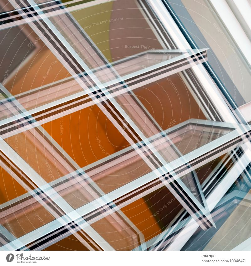Gekippt Lifestyle elegant Stil Design Architektur Fenster Glas Kunststoff Linie ästhetisch eckig modern neu verrückt orange weiß Farbe Irritation Zukunft