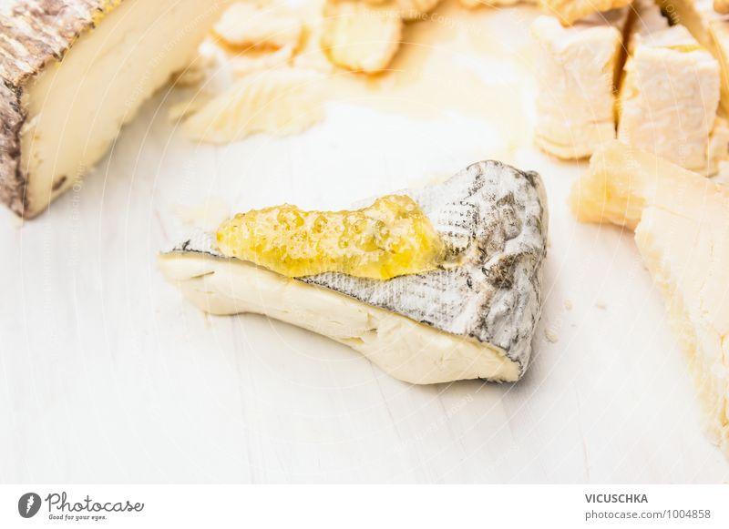 Weich Käse mit Feigen Senf Soße schön weiß Gesunde Ernährung gelb Stil Lebensmittel Design weich Mittagessen Dessert Honig Saucen Feinschmecker Milcherzeugnisse
