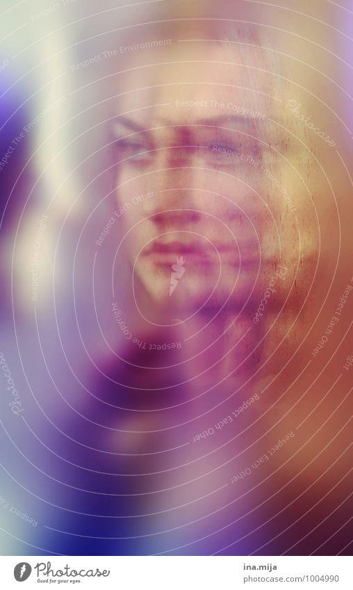 Frauengesicht spiegelt sich bunt Mensch feminin Junge Frau Jugendliche Erwachsene Gesicht 1 18-30 Jahre Gefühle Hoffnung Glaube demütig träumen Traurigkeit