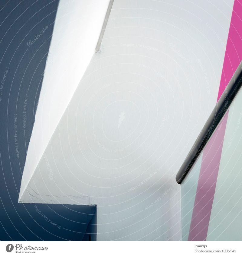 Handlauf Lifestyle elegant Stil Design Innenarchitektur Architektur Geländer Linie eckig modern grau rosa weiß Perspektive Grafik u. Illustration minimalistisch