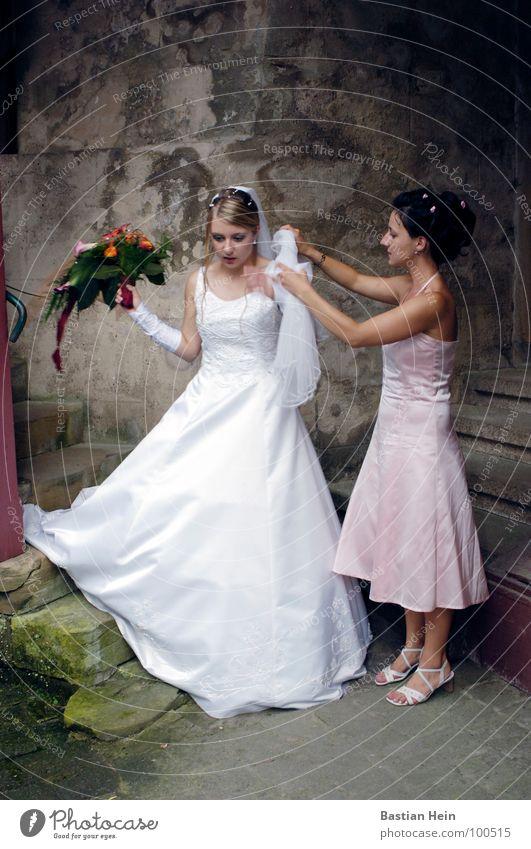 Brautschau Frau Liebe Hochzeit Hilfsbereitschaft Blumenstrauß Fotograf Kleid Schleier Ehe Photo-Shooting Helfer Brautkleid