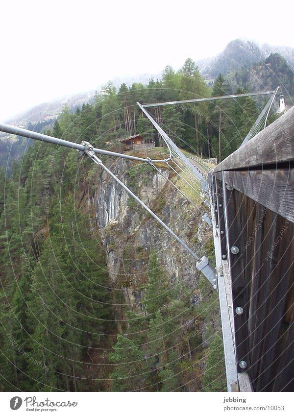 Hängebrücke2 Architektur Brücke Alpen Berge u. Gebirge pitztal Bungee hoch Tal high pendant bridge suspension bridge alps mountains