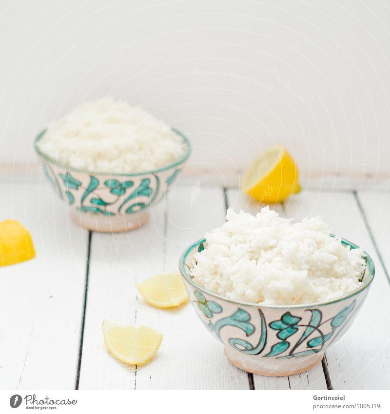 Reis hell Lebensmittel frisch Ernährung Getreide Schalen & Schüsseln Vegetarische Ernährung Zitrone Reis Asiatische Küche Reisschale