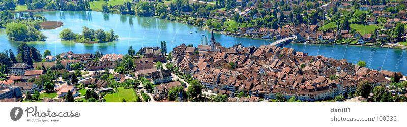 Ausblick auf Stein Am Rhein Panorama (Aussicht) See historisch Fluss Bach Stein am Rhein Bodensee Altstadt Stadtmauer Stadtkern Brücke Insel groß