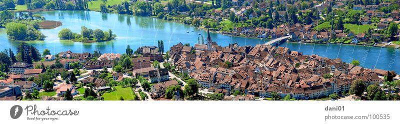 Ausblick auf Stein Am Rhein See groß Brücke Insel Fluss historisch Bach Panorama (Bildformat) Altstadt Bodensee Stadtmauer