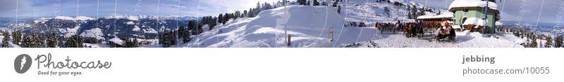 Alpenpanorama im Winter Bergkette Panorama (Aussicht) Skier Gipfel kalt Österreich Bundesland Tirol Berge u. Gebirge Schnee Skipiste alps snow Fahrstuhl runs